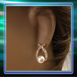 Bow Hoop Rhinestone Pearl Earrings